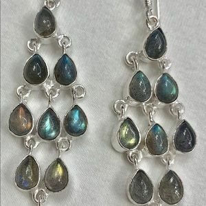 Gorgeous Large Labradorite Chandelier Earrings 925